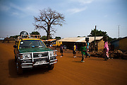 A truck from the Ghana information services is used to announce an upcoming national polio immunization exercise in the town of Tolon, northern Ghana on Tuesday March 24, 2009.