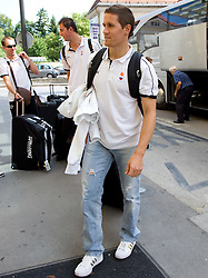 Jaka Lakovic at arrival of Slovenian basketball team from a friendly tournament in Spain, on August 9, 2010 at City Hotel, Ljubljana, Slovenia. (Photo by Vid Ponikvar / Sportida)