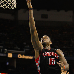 January 17, 2011; New Orleans, LA, USA; Toronto Raptors power forward Amir Johnson (15) shoots against the New Orleans Hornets during the fourth quarter at the New Orleans Arena. The Hornets defeated the Raptors 85-81.  Mandatory Credit: Derick E. Hingle