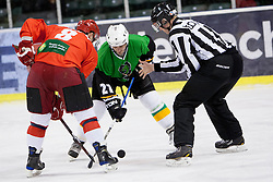 Milan Hafner of Jesenice and Jaka Avgustincic of Olimpija during Humanitarian hockey derby of legends between Olimpija and Jesenice, on 7 March 2014, in Hala Tivoli, Ljubljana, Slovenia. Photo by Urban Urbanc / Sportida.com