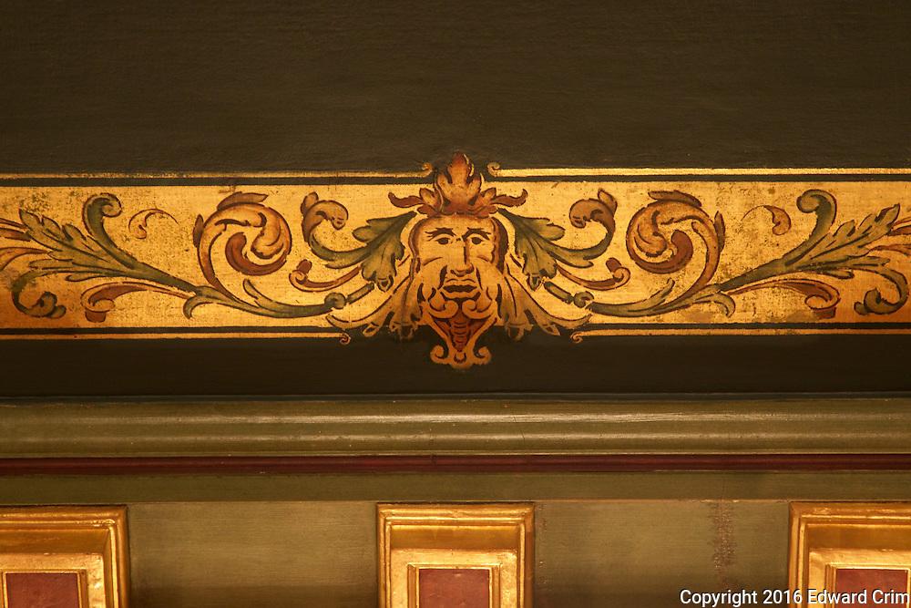 Ceiling decorations in the Senate caucus room of the Pennsylvania capitol in Harrisburg.