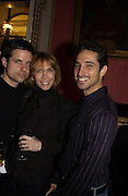 Ryan Spielman, Trudie Styler and Philip Bergkvist, Literary Review Bad Sex in Fiction Award. In and Out Club, St. James, Sq. 3 December 2003. © Copyright Photograph by Dafydd Jones 66 Stockwell Park Rd. London SW9 0DA Tel 020 7733 0108 www.dafjones.com