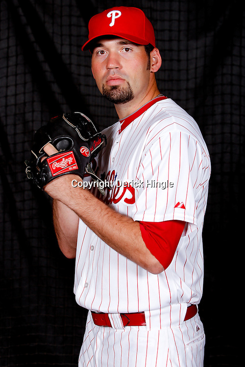February 22, 2011; Clearwater, FL, USA; Philadelphia Phillies relief pitcher David Herndon (57) poses during photo day at Bright House Networks Field. Mandatory Credit: Derick E. Hingle