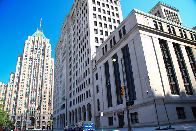 General Motors and Fisher Buildings photographed the day before GM filed for bankruptcy protection.