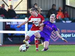 Juliette Kemppi of Bristol City battles with Rhiannon Roberts of Liverpool Women - Mandatory by-line: Paul Knight/JMP - 17/11/2018 - FOOTBALL - Stoke Gifford Stadium - Bristol, England - Bristol City Women v Liverpool Women - FA Women's Super League 1