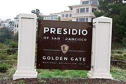 National Park Service sign for Presidio of San Francisco, Golden Gate National Recreation Area, San Francisco, California, United States of America