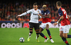 November 5, 2019, Valencia, Valencia, Spain: Rodrigo Moreno of Valencia and Victor James Osimhen of Losc Lille during the during the UEFA Champions League group H match between Valencia CF and Losc Lille at Estadio de Mestalla on November 5, 2019 in Valencia, Spain (Credit Image: © AFP7 via ZUMA Wire)