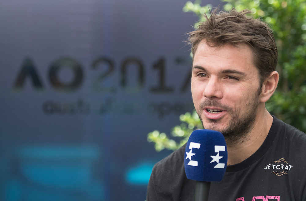 Stan Wawrinka of Switzerland during his pre-tournament press conference ahead of the 2017 Australian Open at Melbourne Park on January 14, 2017 in Melbourne, Australia.<br /> (Ben Solomon/Tennis Australia)