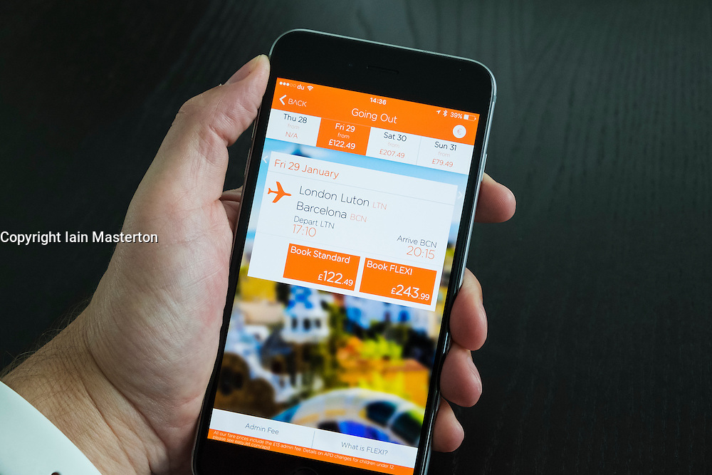 Easyjet budget airline flight booking app on an iPhone 6 Plus smart phone