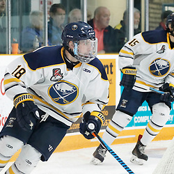 TRENTON, ON - NOV 10:  Cameron Radziwon #18 of the Buffalo Jr. Sabres during the OJHL regular season game between the  Buffalo Jr Sabres and Trenton Golden Hawks on November 10, 2016 in Trenton, Ontario. (Photo by Amy Deroche/OJHL Images)