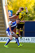 Burton Albion forward Mark Duffy heads the ball away from danger during the Sky Bet League 1 match between Chesterfield and Burton Albion at the Proact stadium, Chesterfield, England on 26 September 2015. Photo by Aaron Lupton.