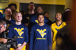 Dec 10, 2016; Morgantown, WV, USA; West Virginia Mountaineers players wait before being introduced before their game against the Virginia Military Keydets at WVU Coliseum. Mandatory Credit: Ben Queen-USA TODAY Sports