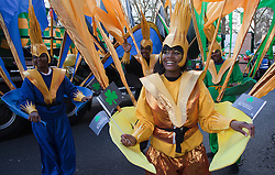 "© Licensed to London News Pictures. 18/03/2012. London, England. Members of the group ""Mahogany"" at the parade. London celebrates St. Patrick's Day with a parade and festival. Photo credit: Bettina Strenske/LNP"