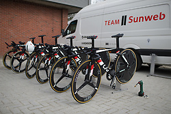 Bikes of Team Sunweb are lined up for Stage 2 of the Healthy Ageing Tour - a 19.6 km team time trial, starting and finishing in Baflo on April 6, 2017, in Groeningen, Netherlands.