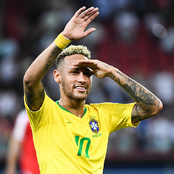 Neymar Jr of Brazil celebrates the victory during the FIFA World Cup Group E match between Serbia and Brazil on June 27, 2018 in Moscow, Russia. (Photo by Anthony Dibon/Icon Sport)
