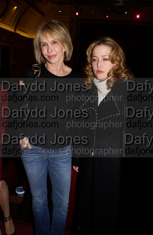 "Trudie Styler and gillian Anderson, Harpers and Queen and Twentieth Century Fox host a  charity screening in aid of 'Facing the World"" ( plastic surgery for children in the world's poorest countries)  and supper for Solaris. Electric Cinema, Notting Hill.  © Copyright Photograph by Dafydd Jones 66 Stockwell Park Rd. London SW9 0DA Tel 020 7733 0108 www.dafjones.com"