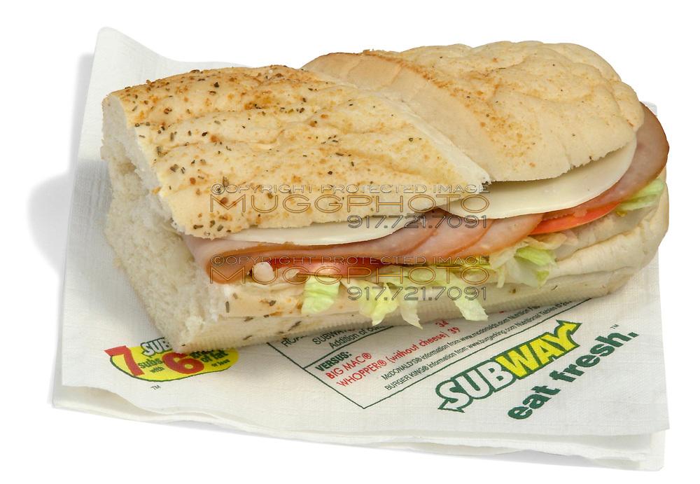 deli subway 6 inch ham and cheese
