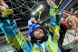 Supporters of Slovenia during ice-hockey match between Slovenia and Ukraine at IIHF World Championship DIV. I Group A Slovenia 2012, on April 19, 2012 in Arena Stozice, Ljubljana, Slovenia. Slovenia defeated Ukraine 3-2. (Photo by Vid Ponikvar / Sportida.com)
