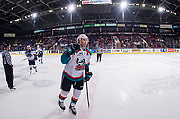 KELOWNA, CANADA - FEBRUARY 7: Carsen Twarynski #18 of the Kelowna Rockets skates to the bench to celebrate a goal against the Vancouver Giants  on February 7, 2018 at Prospera Place in Kelowna, British Columbia, Canada.  (Photo by Marissa Baecker/Shoot the Breeze)  *** Local Caption ***