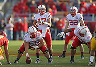 November 06 2010: Nebraska Cornhuskers quarterback Cody Green (17) yells out commands as Nebraska Cornhuskers offensive linesman Mike Caputo (58) and Nebraska Cornhuskers offensive linesman Keith Williams (68) prepare for the snap during the second half of the NCAA football game between the Nebraska Cornhuskers and the Iowa State Cyclones at Jack Trice Stadium in Ames, Iowa on Saturday November 6, 2010. Nebraska defeated Iowa State 31-30.