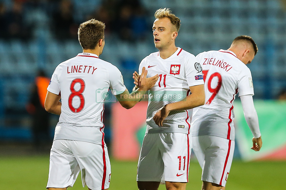 October 5, 2017 - Yerevan, Armenia - Poland's midfielder Kamil Grosicki celebrates after scoring a goal during the FIFA World Cup 2018 qualification football match between Armenia and Poland in Yerevan on October 5, 2017. (Credit Image: © Foto Olimpik/NurPhoto via ZUMA Press)