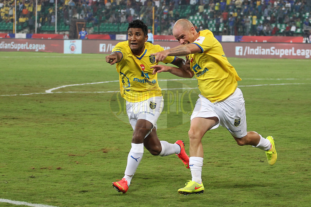 Iain Hume of Kerala Blasters FC celebrates his goal with Nirmal Chettri of Kerala Blasters FCduring match 9 of the Hero Indian Super League between Chennaiyin FC and Kerala Blasters FC held at the Jawaharlal Nehru Stadium, Chennai, India on the 21st October 2014.<br /> <br /> Photo by:  Ron Gaunt/ ISL/ SPORTZPICS