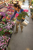 A young woman shops at a garden center in southern California.