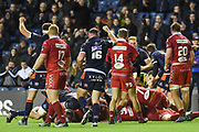 Edinburgh force their way over the line to score try during the Guinness Pro 14 2018_19 match between Edinburgh Rugby and Scarlets at BT Murrayfield Stadium, Edinburgh, Scotland on 2 November 2018.