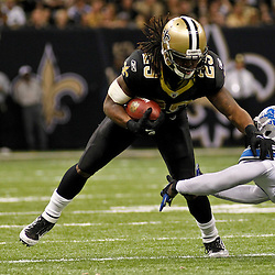 January 7, 2012; New Orleans, LA, USA; New Orleans Saints running back Chris Ivory (29) breaks away from Detroit Lions linebacker Justin Durant (52) during the 2011 NFC wild card playoff game at the Mercedes-Benz Superdome. Mandatory Credit: Derick E. Hingle-US PRESSWIRE