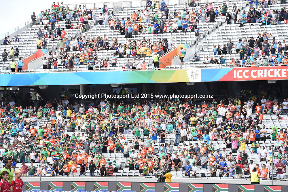 Fans during the ICC Cricket World Cup match between Pakistan and South Africa at Eden Park in Auckland, New Zealand. Saturday 07 March 2015. Copyright Photo: Raghavan Venugopal / www.photosport.co.nz