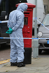 © Licensed to London News Pictures. 05/08/2019. London, UK. A crime scene investigator looks at a letterbox on Waltheof Gardens in Tottenham, north London following a death of a woman in no 46 Waltheof Gardens. Police were called around 10:45 am on 4 August 2019 where the body of an 89-year-old woman was found. According to the police one or more suspects gained entry to the woman's house between Saturday (3 August) evening and Sunday (4 August) morning. Photo credit: Dinendra Haria/LNP