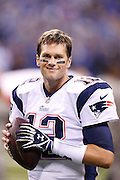 INDIANAPOLIS, IN - NOVEMBER 16: Tom Brady #12 of the New England Patriots looks on before the game against the Indianapolis Colts at Lucas Oil Stadium on November 16, 2014 in Indianapolis, Indiana. The Patriots defeated the Colts 42-20. (Photo by Joe Robbins) *** Local Caption *** Tom Brady