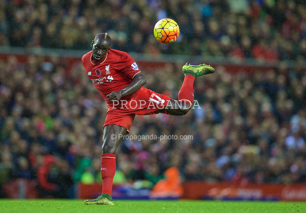 LIVERPOOL, ENGLAND - Sunday, November 8, 2015: Liverpool's Mamadou Sakho in action against Crystal Palace during the Premier League match at Anfield. (Pic by David Rawcliffe/Propaganda)