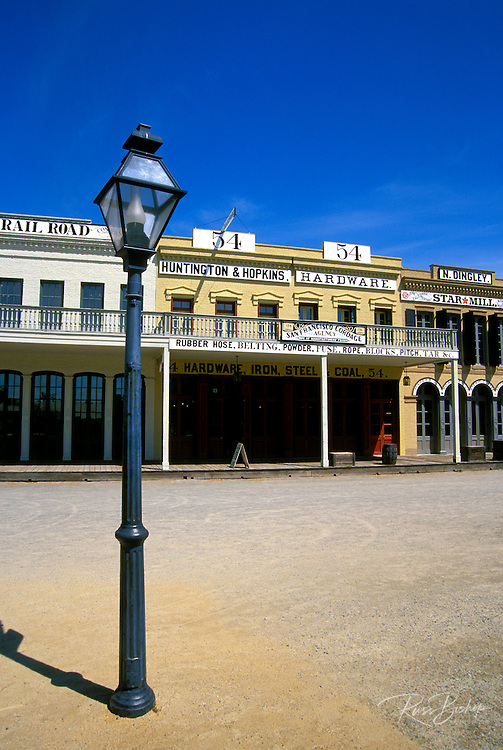 Historic buildings and lamp post in Old Town Sacramento, California