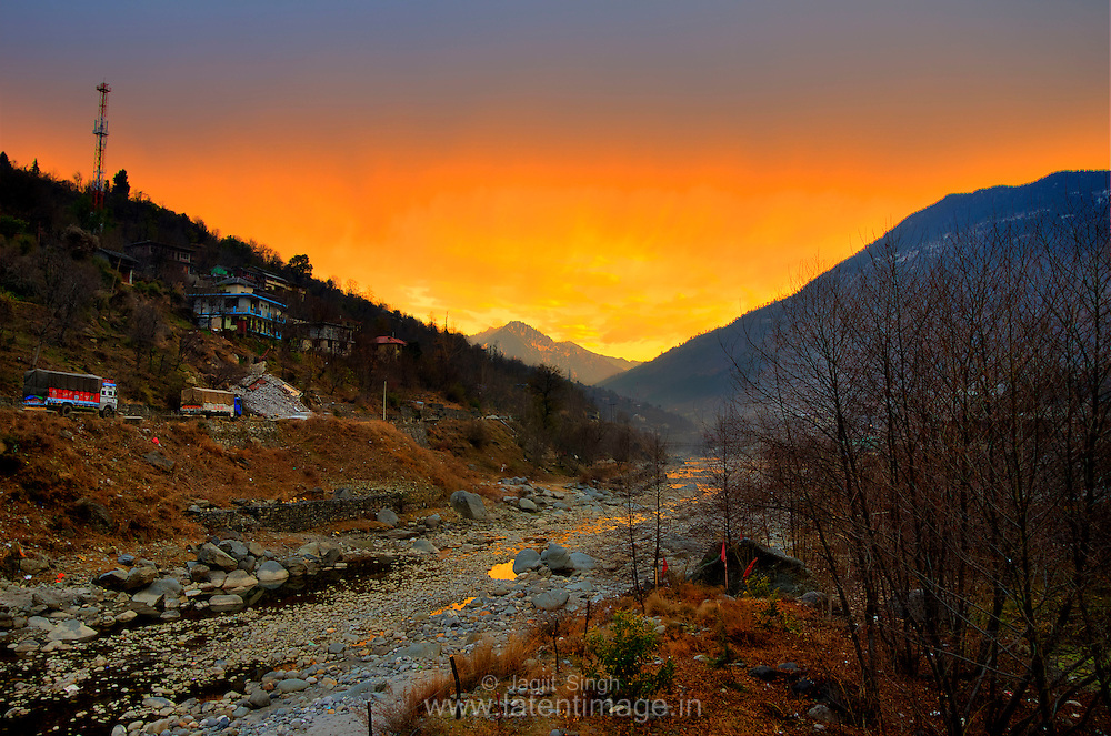 Beautiful Sunset in Kullu City during winters.