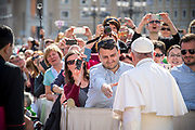 May 03, 2017: A man trying to salute Pope Francis upon arrival in St. Peter's square at the Vatican for his weekly general audience. Antoine Mekary | Aleteia | I.Media