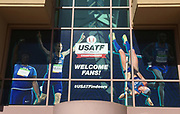Mar 4, 2017; Albuquerque, NM, USA: Genera overall view of the entrance to the USA Indoor Championships at Albuquerque Convention Center.