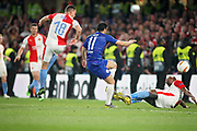Chelsea FC forward Pedro (11) scores the fourth goal 4-1 during the Europa League quarter-final, leg 2 of 2 match between Chelsea and Slavia Prague at Stamford Bridge, London, England on 18 April 2019.