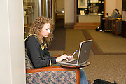 Missouri MO USA, University of Missouri in Columbia female student working on her laptop computer