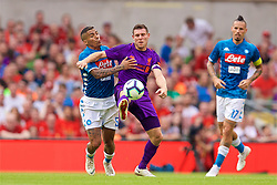 DUBLIN, REPUBLIC OF IRELAND - Saturday, August 4, 2018: Liverpool's James Milner and Napoli's Allan Marques Loureiro during the preseason friendly match between SSC Napoli and Liverpool FC at Landsdowne Road. (Pic by David Rawcliffe/Propaganda)