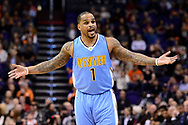 Jan 28, 2017; Phoenix, AZ, USA; Denver Nuggets guard Jameer Nelson (1) reacts to a call made in the first half of the NBA game against the Phoenix Suns at Talking Stick Resort Arena. Mandatory Credit: Jennifer Stewart-USA TODAY Sports