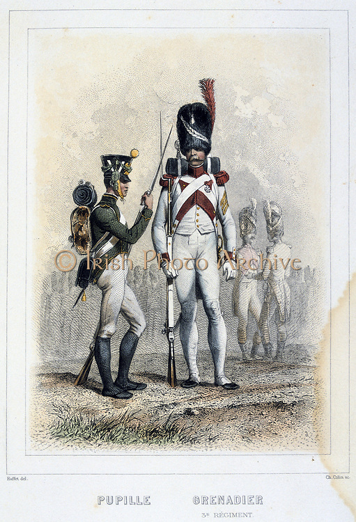 Boy soldier and Grenadier of the 3rd regiment. From 'Napoleon 1er et la Garde Imperiale' by Eugene Fieffe, Paris, 1858.