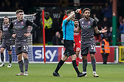 Red card, Bruno Andrade of Lincoln City is sent off during the EFL Sky Bet League 2 match between Swindon Town and Lincoln City at the County Ground, Swindon, England on 12 January 2019.