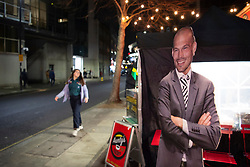 LONDON, ENGLAND - Thursday, December 5, 2019: A lifesize cut out of new Arsenal care-taker manager Fredrik Ljungberg at a street vendor's stall before the FA Premier League match between Arsenal FC and Brighton & Hove Albion FC at the Emirates Stadium. (Pic by Vegard Grott/Propaganda)