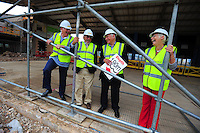 Picture By Jim Wileman  08/09/2009  The building site of the Gillingham Leisure Centre, Dorset. RE: Bob Sherwood piece. L-R John Havill, Three Rivers Partnership, Peter Webb, Leader Dorset District Council, Mark Hebditch Chairman of Three Rivers Partnership, and Sue Hunt, Gillingham Town Council.