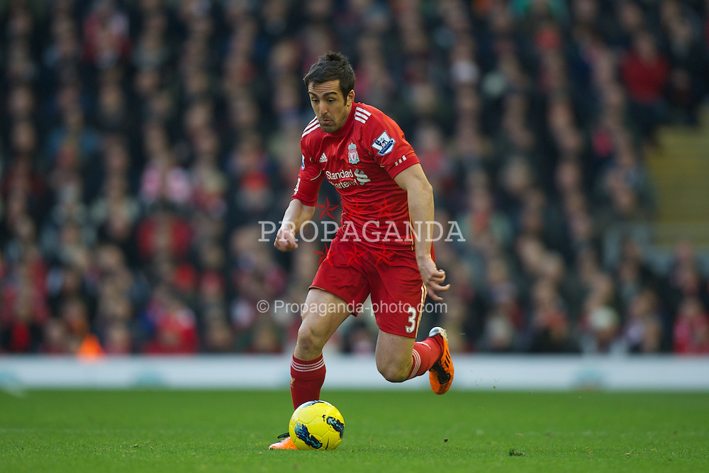 LIVERPOOL, ENGLAND - Saturday, January 14, 2012: Liverpool's Jose Enrique in action against Stoke City during the Premiership match at Anfield. (Pic by David Rawcliffe/Propaganda)