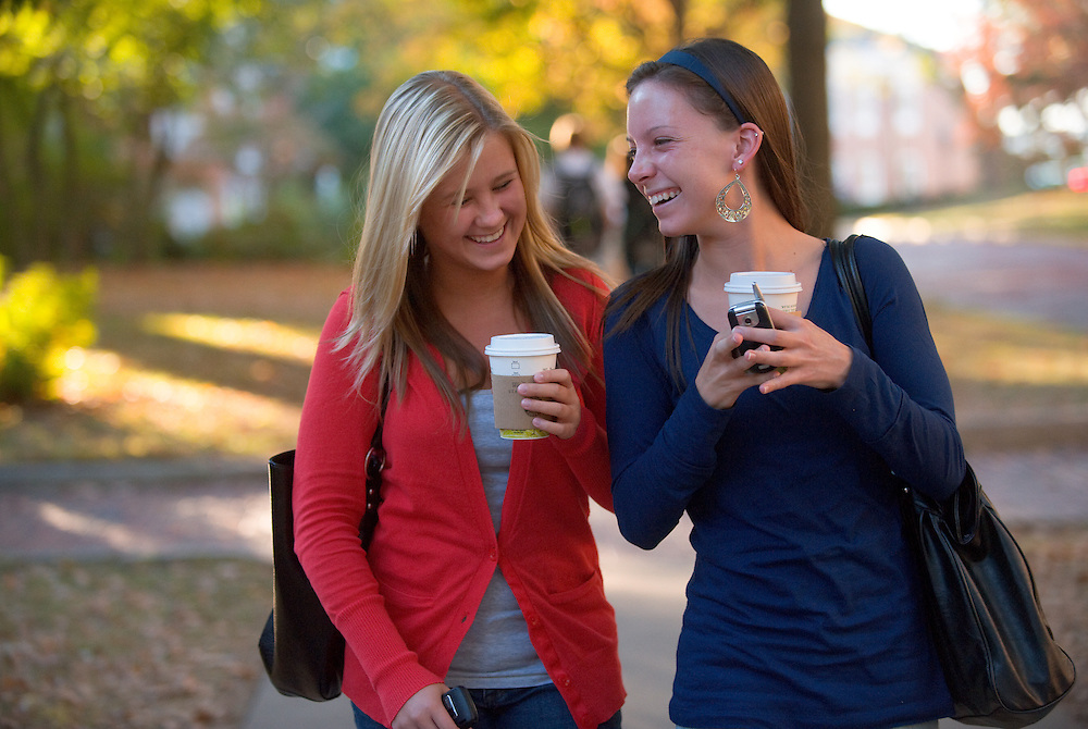 19089Campus fall..left to right...Chelsea Rush and Morgan Wrights