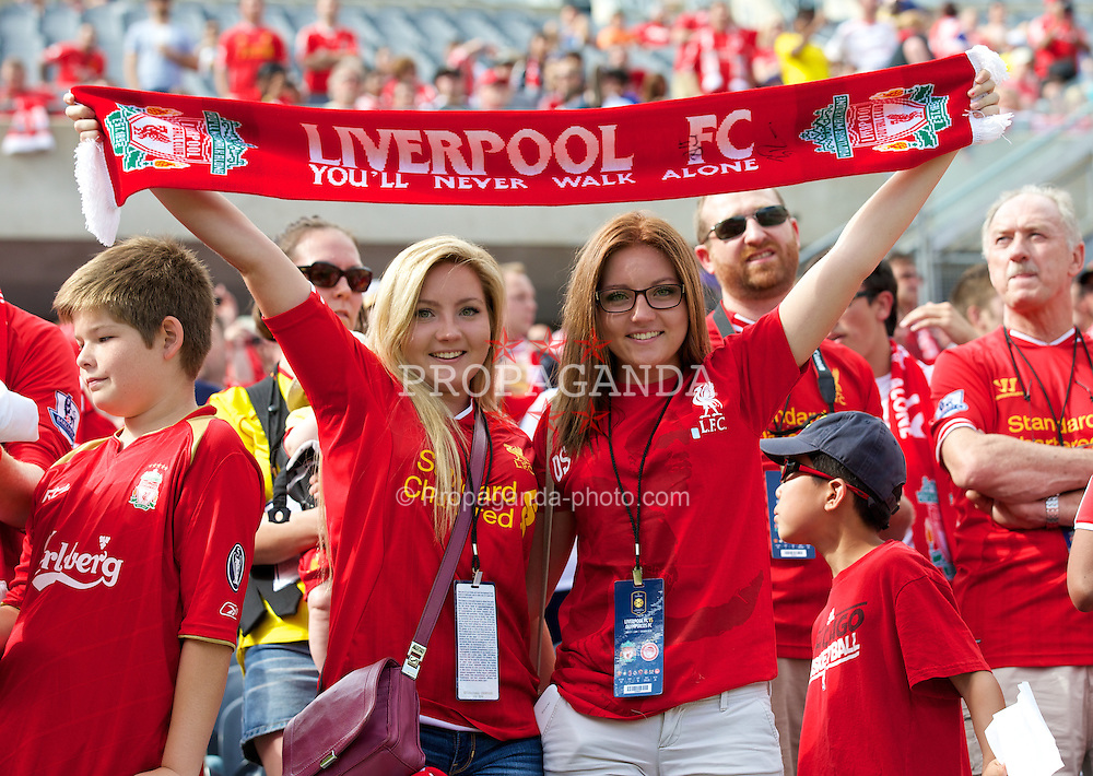 CHICAGO, USA - Sunday, July 27, 2014: Liverpool supporters before the International Champions Cup Group B match against Olympiacos at the Soldier Field Stadium on day seven of the club's USA Tour. (Pic by David Rawcliffe/Propaganda)
