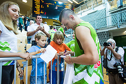 Alen Omic of Slovenia during friendly basketball match between National teams of Slovenia and Ukraine at day 1 of Adecco Cup 2015, on August 21 in Koper, Slovenia. Photo by Grega Valancic / Sportida