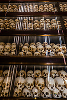 Inside the Memorial Stupa over 5,000 skulls of victims are displayed; Choeung Ek, the site of a former orchard and mass grave of victims of the Khmer Rouge - killed between 1975 and 1979 - about 17 kilometres (11 mi) south of Phnom Penh, Cambodia, is the best-known of the sites known as The Killing Fields, where the Khmer Rouge regime executed over one million people between 1975 and 1979. Over 17,000 people were brought here to be killed and buried in mass graves.